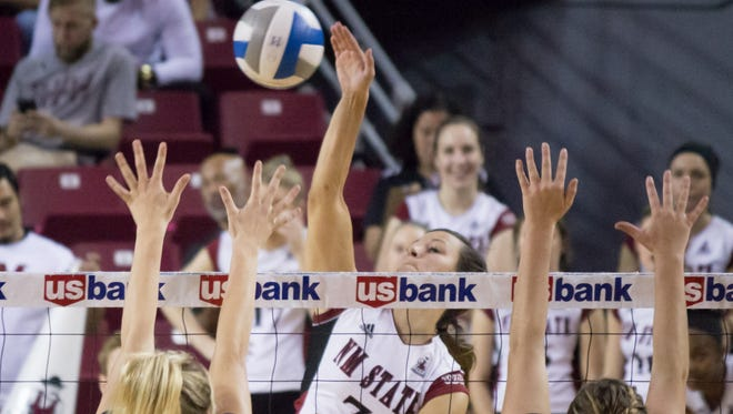 New Mexico State junior outside hitter Jordan Abalos is one the Aggies' top returning players for 2016. The Aggies begin official practice on Monday.