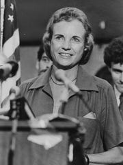 "Sandra Day O'Connor faces reporters in Phoenix after being chosen by President Reagan to be the first woman on the U.S, Supreme Court. Mrs. O'Connor, a state appeals court judge, says this was ""a momentous day"" for her. Credit: The Arizona Republic"