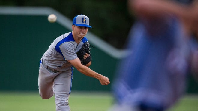 Henderson's Jacob Bowles throws a pitch during a game against the Owensboro RiverDawgs at B.T. Wayne Field on Monday, June 4, 2018.