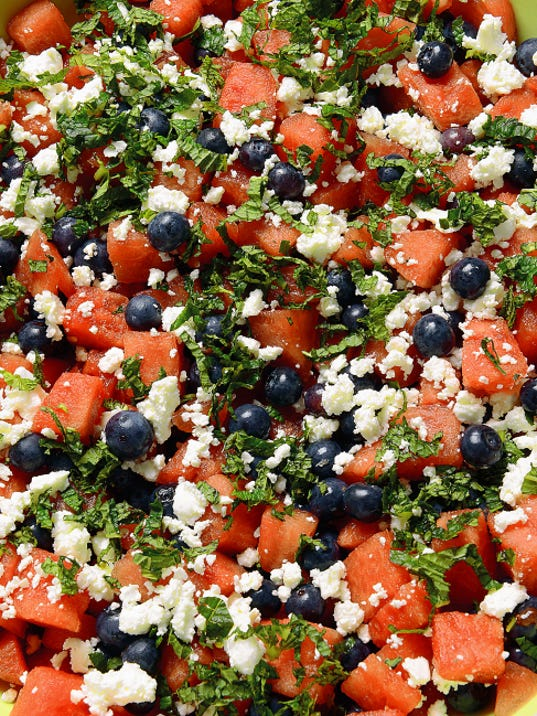 Watermelon, feta and blueberry salad