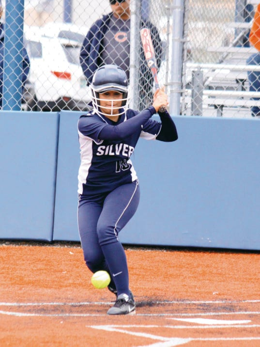 Danny Udero/Sun-News   Silver's Maritza Jacquez garnered All-South and All-District honors and the Lady Colts' Most Valuable Player on offense as she hit .592.