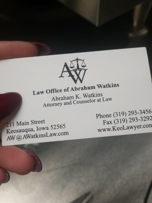 Abraham Watkins' business card