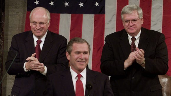 Vice President Cheney and Speaker Dennis Hastert look