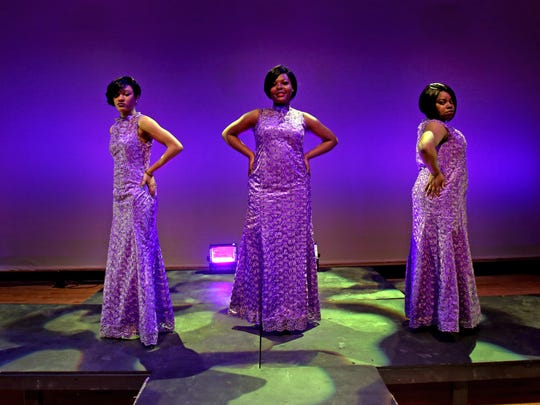 "From left, Miriam Palmer, 17, Dionysia Placide, 16, and Nala Parkes, 17,  who play the lead characters in ""Dreamgirls,"" before rehearsal at Mount Vernon High School on April 26."