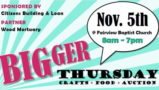Greer Community Ministries' Big Thursday will be held Nov. 5 at Fairview Baptist Church.