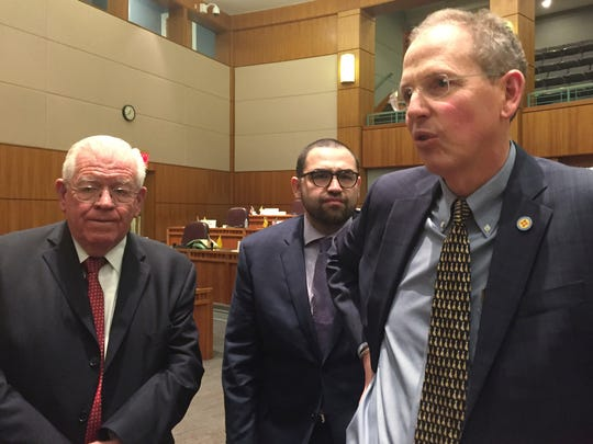 New Mexico Senate Majority Leader Peter Wirth, D-Santa Fe, right, speakers to reporters with Sen. John Arthur Smith, D-Deming, left, and Sen. Jacob Candelaria, D- Albuquerque, center, after the end of the Legislative session on Saturday, March 18, 2017. The New Mexico Legislature adjourned  amid uncertainty over the state's budget and a threat by Gov. Susana Martinez to immediately call a special Legislative session.