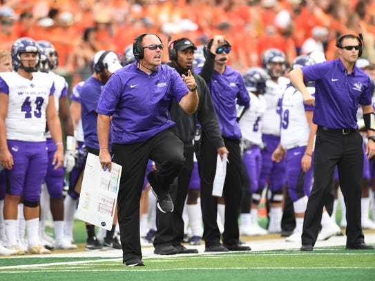 ACU coach Adam Dorrel reacts to play on the sideline