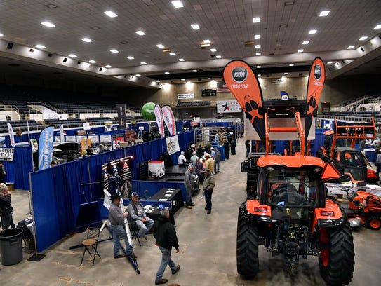 Vendors display wares at the Texas Farm-Ranch-Wildlife Expo at the Taylor County Coliseum.