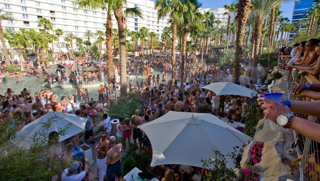 Rehab, the wild Sunday pool party at the Hard Rock, typically attracts thousands of partiers.