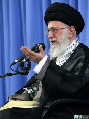 A handout picture made available by the supreme leader official website shows Iranian supreme leader Ayatollah Ali Khamenei speaking during a ceremony in Tehran, Iran, 27 September 2015.