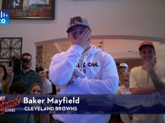 See Baker Mayfield's priceless reaction to Jimmy Kimmel's 0-16 Browns joke