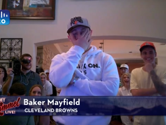 See Baker Mayfield's priceless reaction to Jimmy Kimmel's 0-16 Browns joke