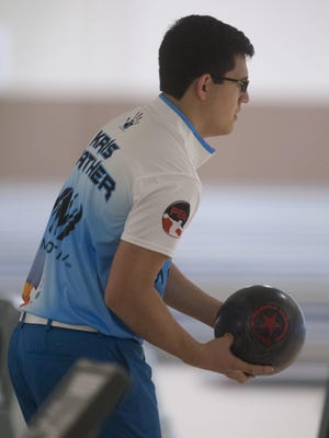 Kristopher Prather, of Milton, steps up to the line during the Professional Bowling Assoc. Xtra Frame Pensacola South Open tournament at Liberty Lanes Sunday morning.
