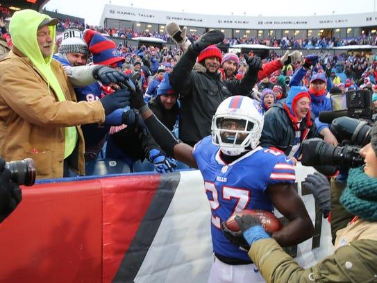 Bills cornerback Tre'Davious White celebrates with