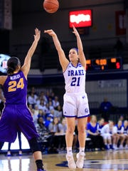 Sammie Bachrodt of Drake puts up a 3 point shot as