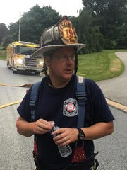 Goodwill Fire Chief Nate Tracey describes the scene of a fire with a fatality on Wednesday, June 20, 2018, in York Township.