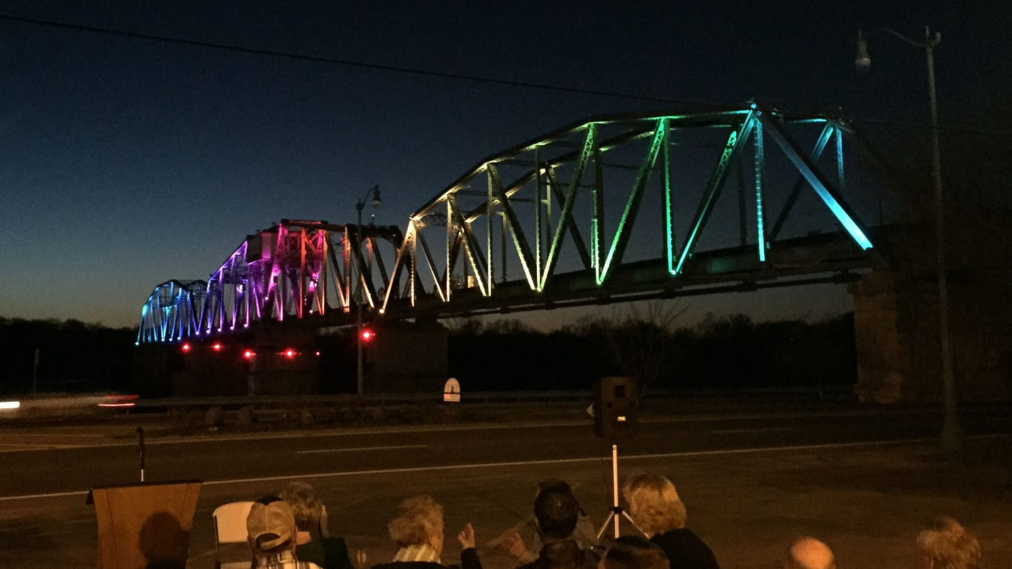 Railroad bridge offers rainbow of lights sciox Image collections