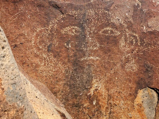 Face Petroglyph at Three Rivers Petroglyph site in New Mexico