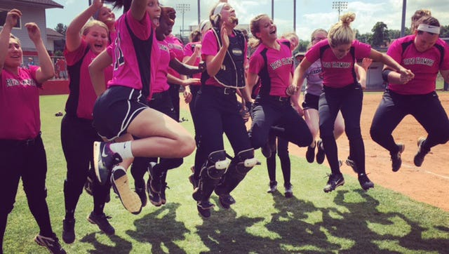 Stewarts Creek celebrates its win over Ooltewah in the Class AAA softball sectional.