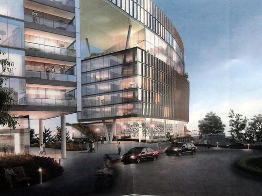 A rendering of a plan by developers to build a large residential complex on the property of the old Good Counsel in White Plains.