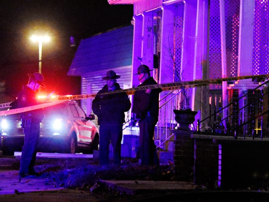 Pennsylvania State Police investigate an officer-involved shooting outside 831 Pennsylvania Ave., in York City, Friday, March 2, 2018. The shooting victim, who admitted to have started a fire in a nearby trailer, was hiding on the property when approached by officers. Dawn J. Sagert photo