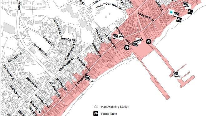 The shaded area shows where masks now must be worn in the commercial center of Provincetown.