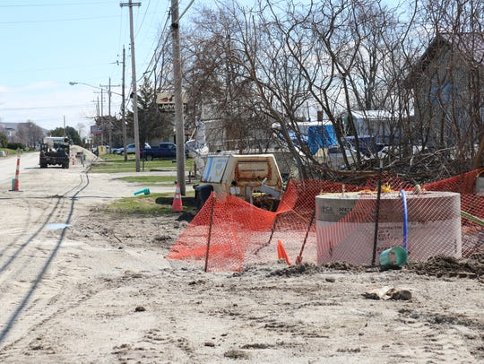 In April, crews began a sewer project combining sanitary