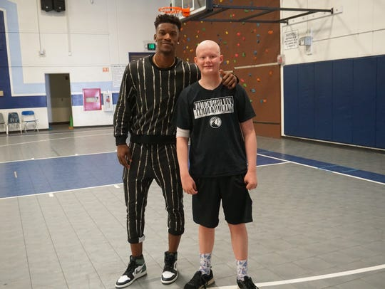 "Minnesota Timberwolves star Jimmy Butler, left, met with Hortonville High School junior Ethan Whitney for an episode of ESPN's ""My Wish."""