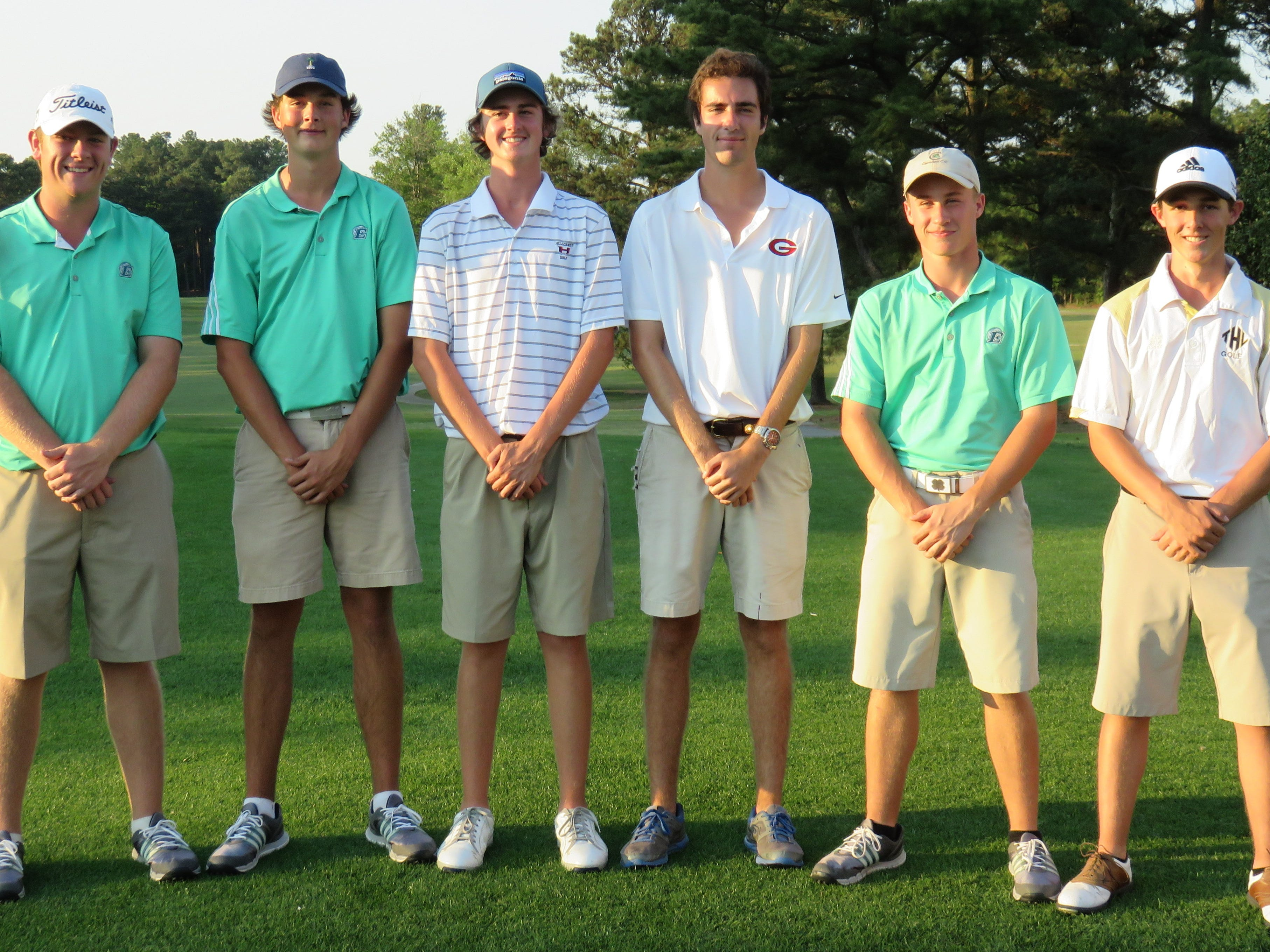 The All-Region 1-AAAA golf team consisted of, left to right, Matt Carter (Easley), Drake McAlister (Easley), Colby Patton (Hillcrest), Logan Kennedy (Greenville), Hunter Camp (Easley) and Jake Miller (T.L. Hanna).