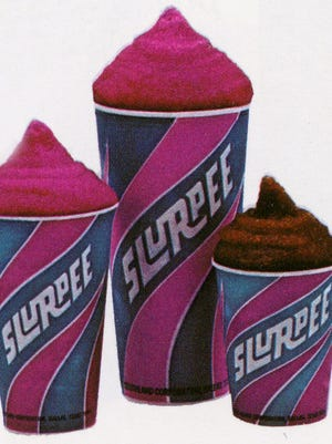 7-Eleven Slurpee cups as they appeared in 1973.
