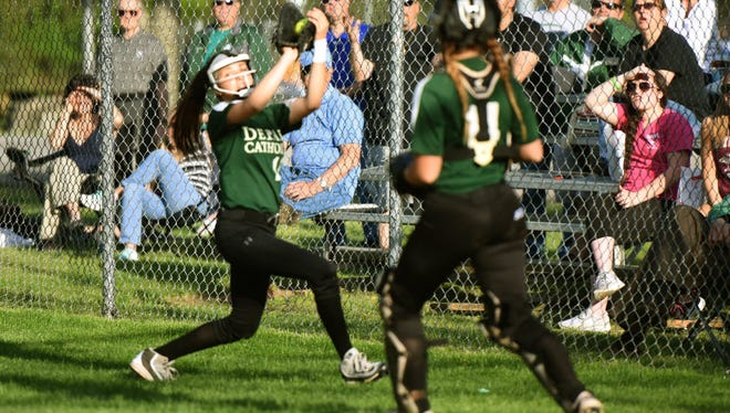 Bianca Muscato (left) singled for DePaul against Pequannock at a tournament.