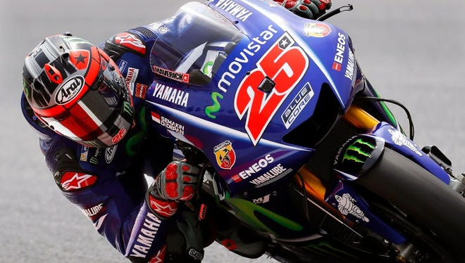 Spanish MotoGP rider Maverick Vinales of the Movistar Yamaha MotoGP team in action during the second training session of the Motorcycling Grand Prix of Catalonia at Montmelo racetrack near Barcelona, northeastern Spain, 09 June 2017.