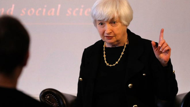 U.S. Fed Chair Janet Yellen gestures as she arrives for a discussion with Lord Nicholas Stern, President of the British Academy, at Carlton House Terrace of the British Academy in London, Tuesday, June 27, 2017.