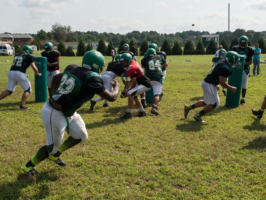 Parkside players practice a drill on Tuesday, Aug.