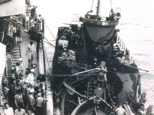 LCI-449 alongside the USS Terror in 1945, just before the invasion of Iwo Jima