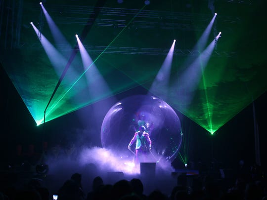 "Fog, lasers, smoke and, of course, plenty of bubbles are the hallmark of the ""Underwater Bubble Show."""