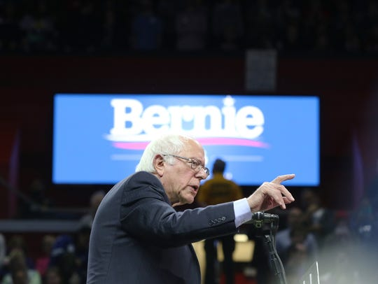 Bernie Sanders speaks at a rally at Rutgers Athletic