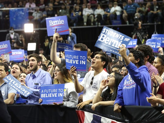 People respond to Bernie Sanders at his Rutgers Athletic