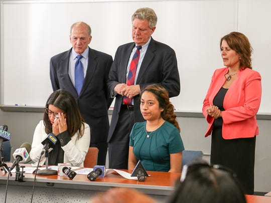 Alma Benavides, 23, of Perth Amboy wipes her eyes while speaking about DACA. U.S. Rep. Frank Pallone, immigration advocates, local leaders and students hold a news conference at Rutgers University's Labor Education Center in New Brunswick on September 5, 2017 to call on President Donald Trump to preserve the DACA program.