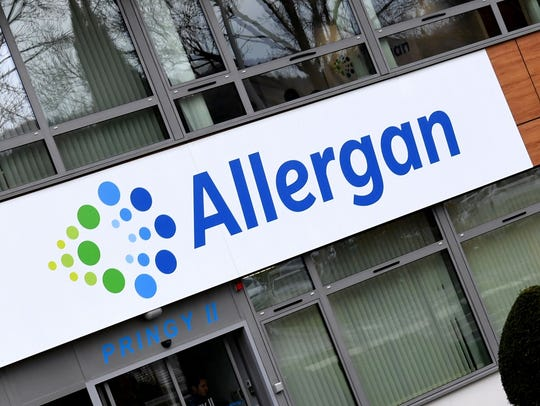 A photo taken on November 7, 2017 shows the Allergan