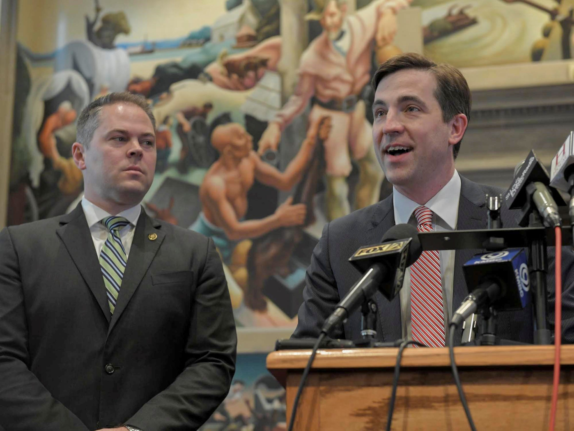 Rep. Jay Barnes, right, and House Speaker Pro Tem Elijah Haahr on Feb. 26 named the members of a committee to investigate Gov. Eric Greitens following the governor's felony indictment.