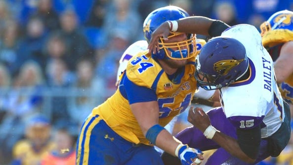 SDSU's Cole Langer (left) and UNI's Aaron Bailey should