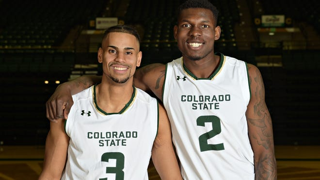 CSU men's basketball players Gian Clavell, left, and Emmanuel Omogbo both hope to get a shot at playing in the NBA next year.