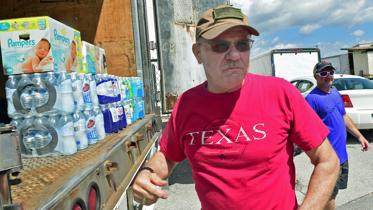 Green Stream Solutions, LLC and Heritage In-Home Services are collecting goods in Franklin County to send to Texas flood victims. Gabler Trucking donated a trailer.