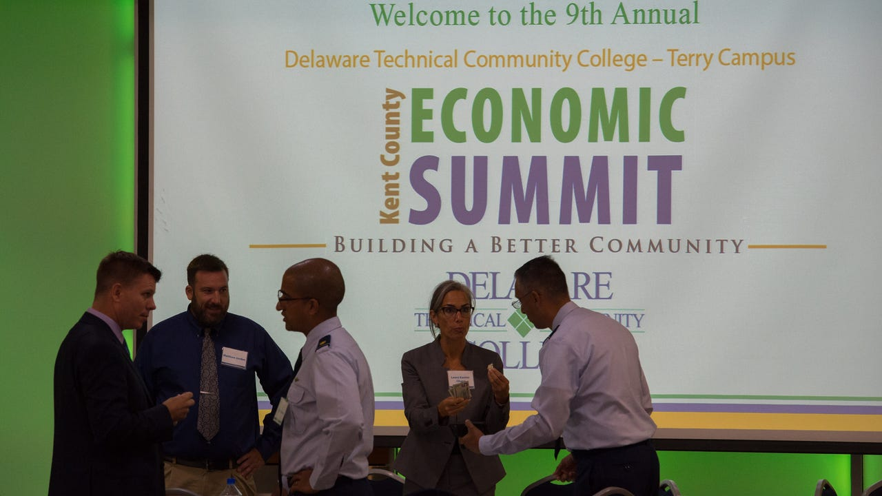 Talking economic development at the 9th annual Kent County Economic Summit at Delaware Technical Community College in Dover.