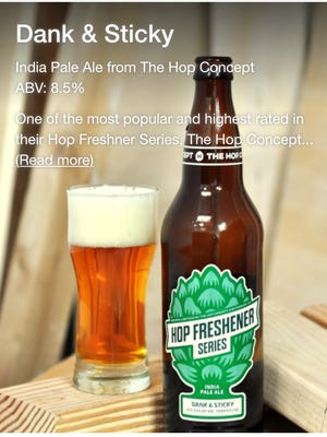 A screen grab from the Tavour app for discovering and buying craft beer.