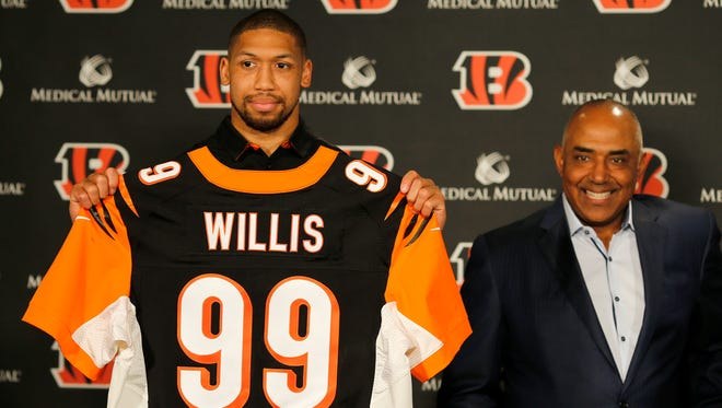 The Cincinnati Bengals introduce third-round pick Kansas State defensive end Jordan Willis, Saturday, April 29, 2017, at Paul Brown Stadium in Cincinnati.
