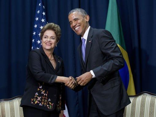President Barack Obama, right, and Brazilian President