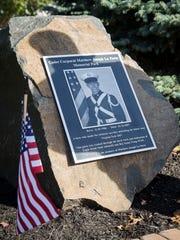 A plaque, featuring a portrait of La Porte in uniform, was unveiled at the ceremony.