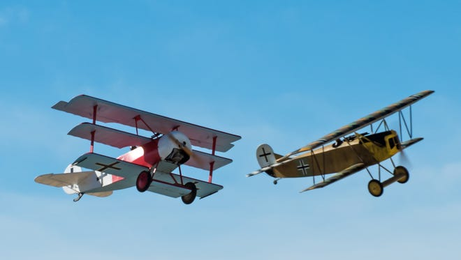 Simulated dog fight between a Tri-wing Fokker DR-1 and Bi-plane Fokker D-7